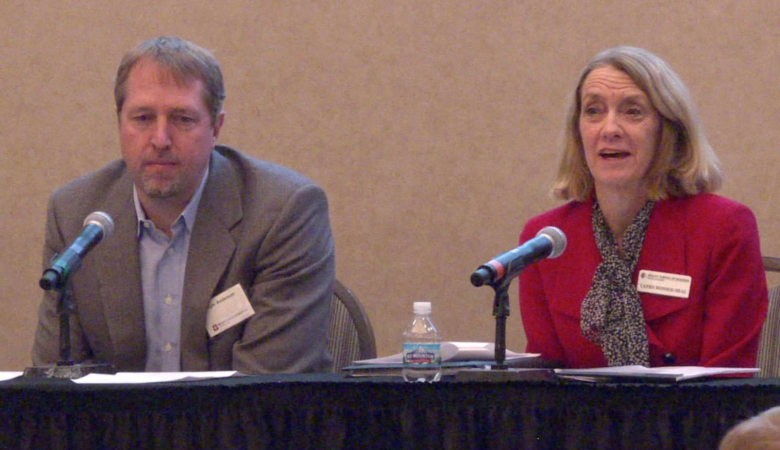 Kelley School of Business professors Kyle Anderson and Cathy Bonser-Neal speak on the 2020 economic forecast panel at IUPUI Thursday morning. (Samantha Horton/IPB News)