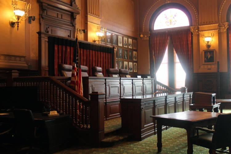 The Indiana Supreme Court chamber. (Lauren Chapman/IPB News)