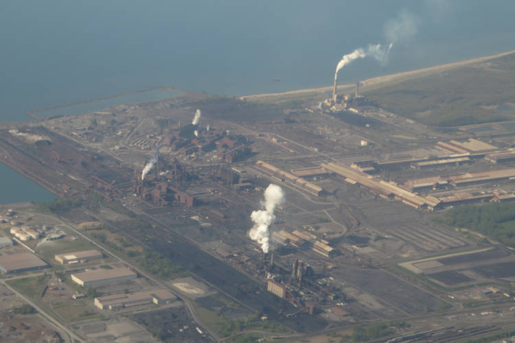 An aerial of the ArcelorMittal Burns Harbor facility in 2014. (Ken Lund/Flickr)
