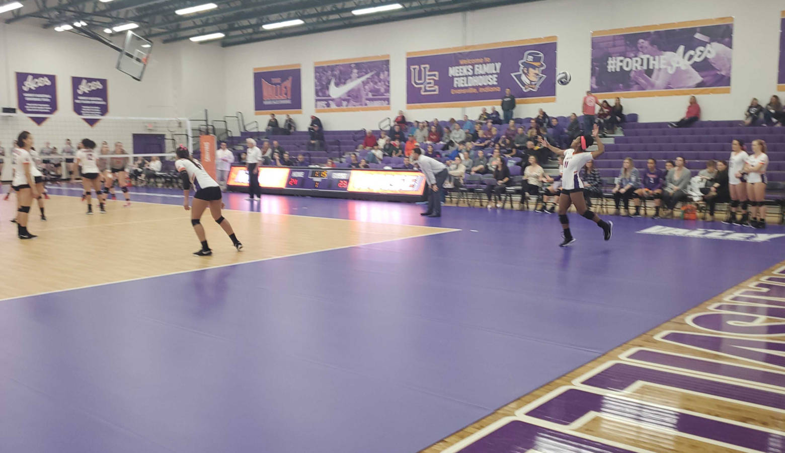 University of Evansville women's volleyball team plays against conference opponent Bradley University. (Samantha Horton/IPB News)