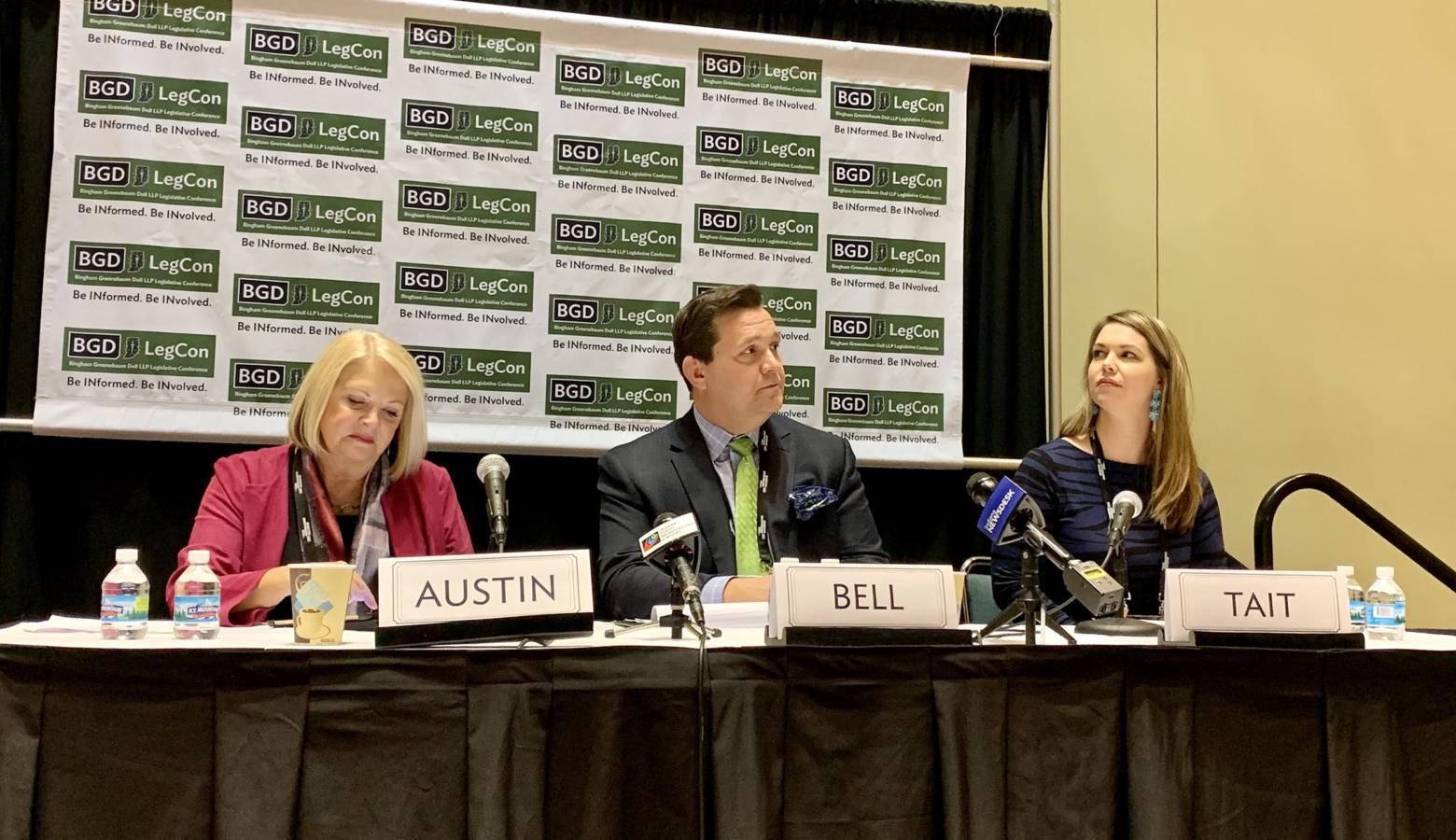 Rep. Terri Austin (D-Anderson), left, on a panel of gaming experts at the Bingham Greenebaum Doll Legislative Conference. (Brandon Smith/IPB News)