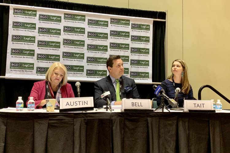 Rep. Terri Austin (D-Anderson), left, on a panel of gaming experts at the Bingham Greenebaum Doll Legislative Conference. (Brandon Smith/IPB News)