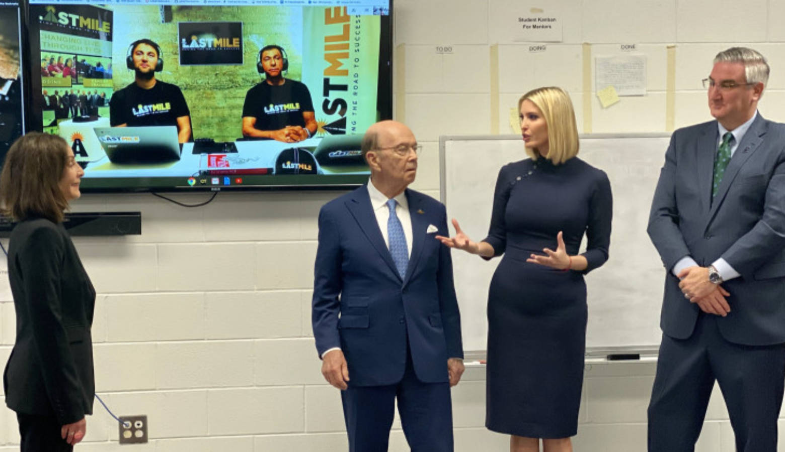 Adivisor to the President Ivanka Tump (second to the right) speaks with the Last Mile founder Beverly Parenti (far left). Trump is joined by Secretary of Commerce Wilbur Ross and Gov. Eric Holcomb (far right).