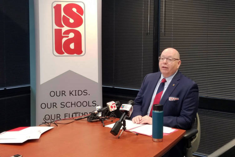 ISTA President Keith Gambill speaks to reporters about the union's agenda for 2020, after a massive day of action in November. (Jeanie Lindsay/IPB News)