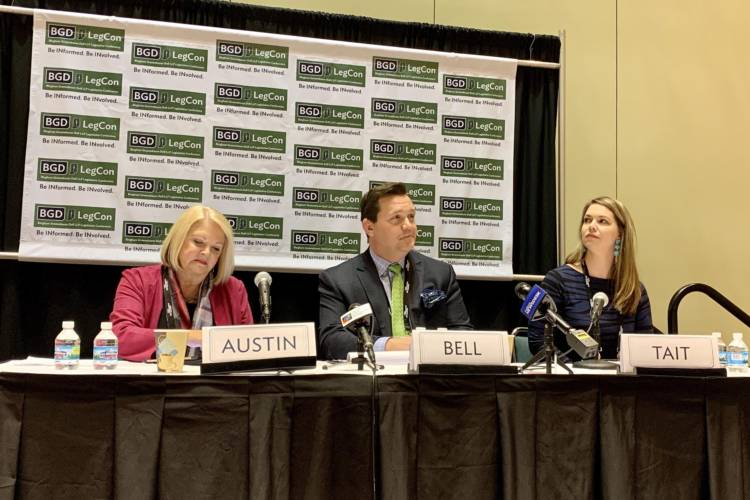 Casino Association of Indiana President Matt Bell, center, discusses gaming on a panel at the Bingham Greenebaum Doll Legislative Conference. (Brandon Smith/IPB News)