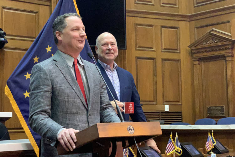 Rep. Todd Huston (R-Fishers), left, and House Speaker Brian Bosma (R-Indianapolis) discuss Huston's ascension to the speakership. (Brandon Smith/IPB News)