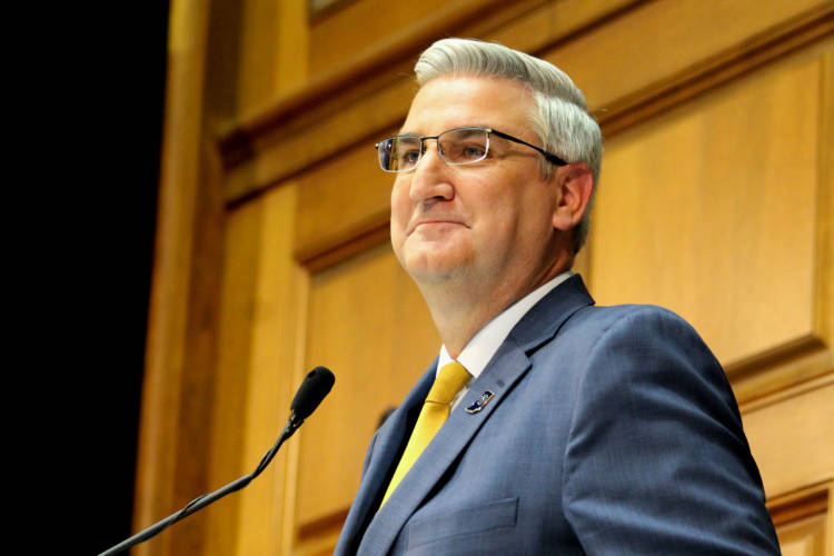 Gov. Eric Holcomb delivers his fourth State of the State address. (Lauren Chapman/IPB News)