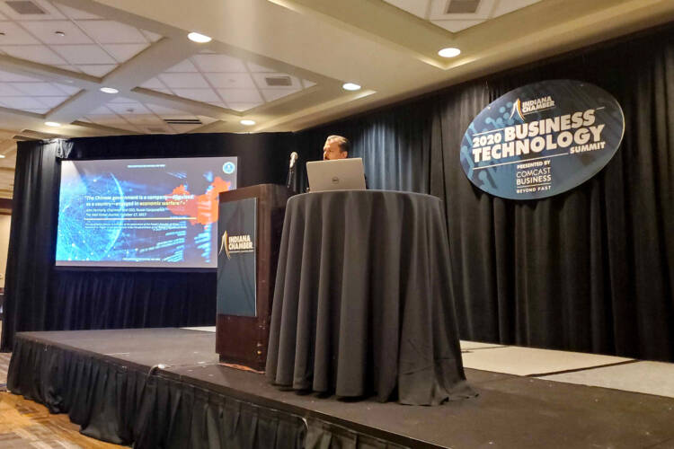 FBI Assistant Special Agent in Charge Robert Middleton speaks at the Indiana Chamber of Commerce's two-day Business Technology Summit. (Samantha Horton/IPB News)