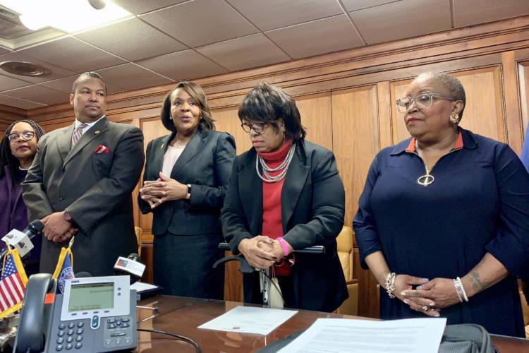 The Indiana Black Legislative Caucus discusses its 2020 agenda. (Brandon Smith/IPB News)