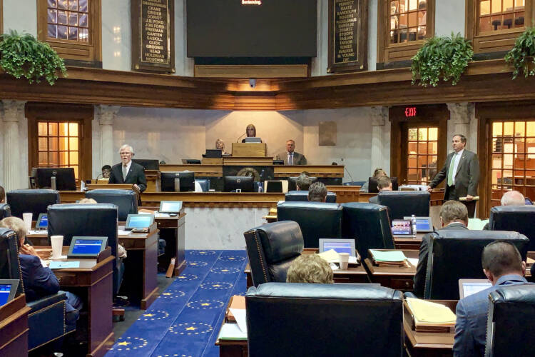 Members of the Indiana Senate debate final passage of a bill aimed at creating hate crimes protections. (Brandon Smith/IPB News)