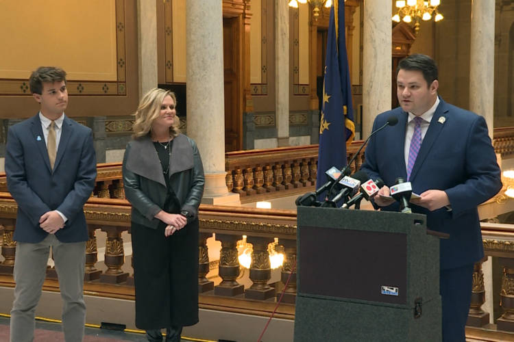 (Left to right) Dominic Conover, State Superintendent Jennifer McCormick and Sen. J.D. Ford announced the anti-discrimination bill at the statehouse Friday. (Jeanie Lindsay/IPB News)