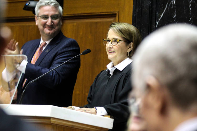 Indiana Chief Justice Loretta Rush delivers her 2020 State of the Judiciary Address. (Lauren Chapman/IPB News)