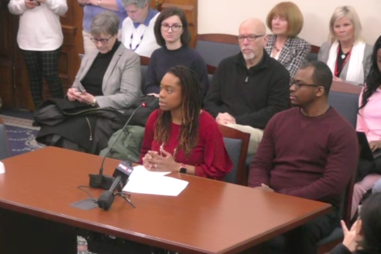 Ashley Phillips testified in support of the bill in front of the Senate committee on Family and Children Services. (Courtesy Indiana General Assembly)