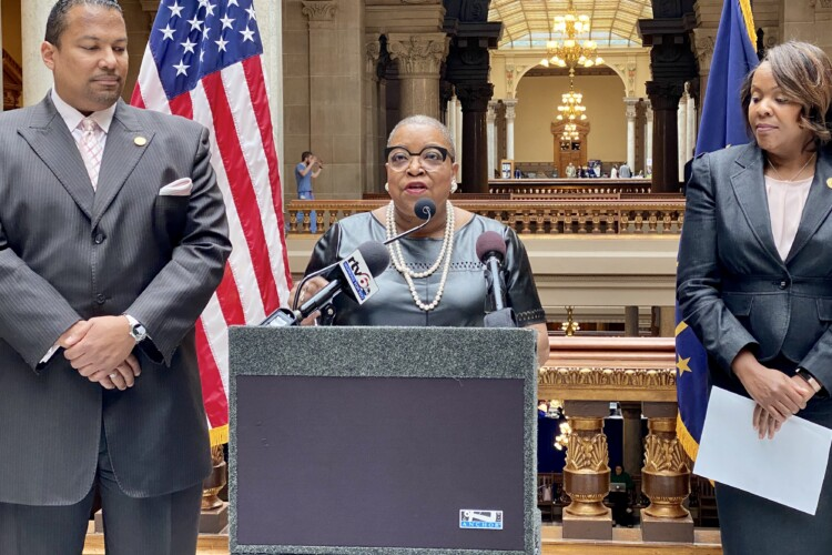 Rep. Vanessa Summers (D-Indianapolis) announced plans for a Maternal Health Caucus to prevent future maternal deaths. (Darian Benson/IPB News)