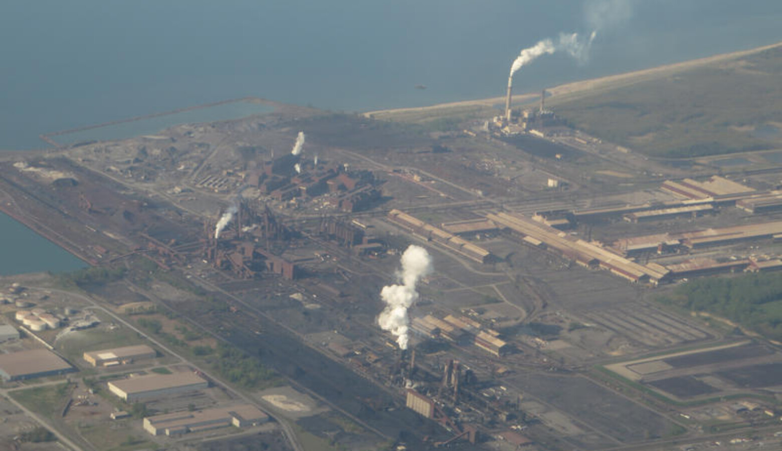 An aerial view of the ArcelorMittal Burns Harbor facility in 2014. (Ken Lund/Flickr)