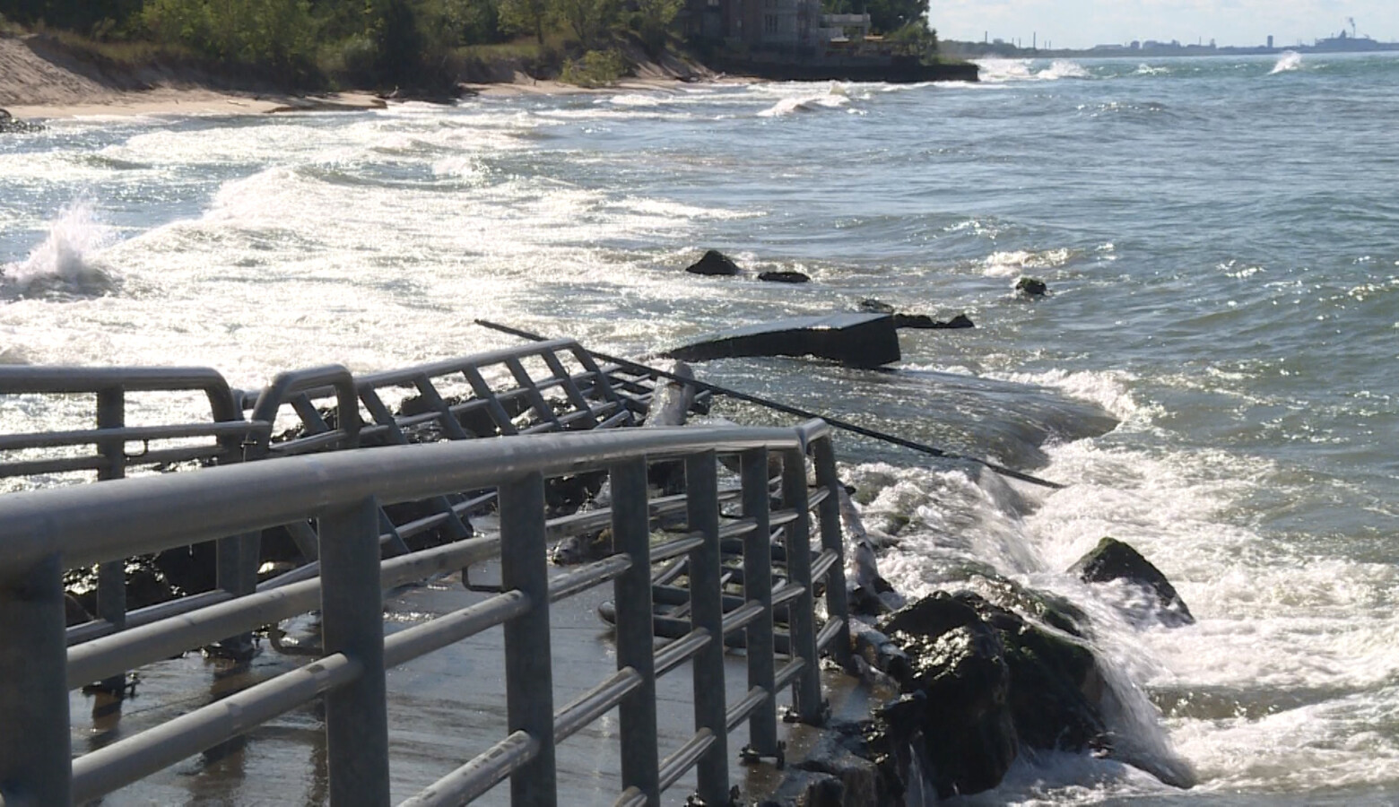 This ramp to help people with disabilities access the beach near Portage Lakefront & Riverwalk has crumbled under the eroding waves (Tyler Lake/WTIU)