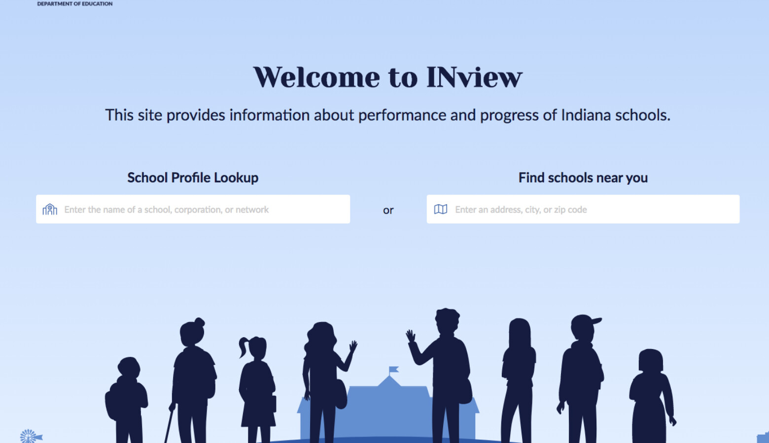 The front page of the new school data portal from the state, at inview.doe.in.gov. (Courtesy INView)