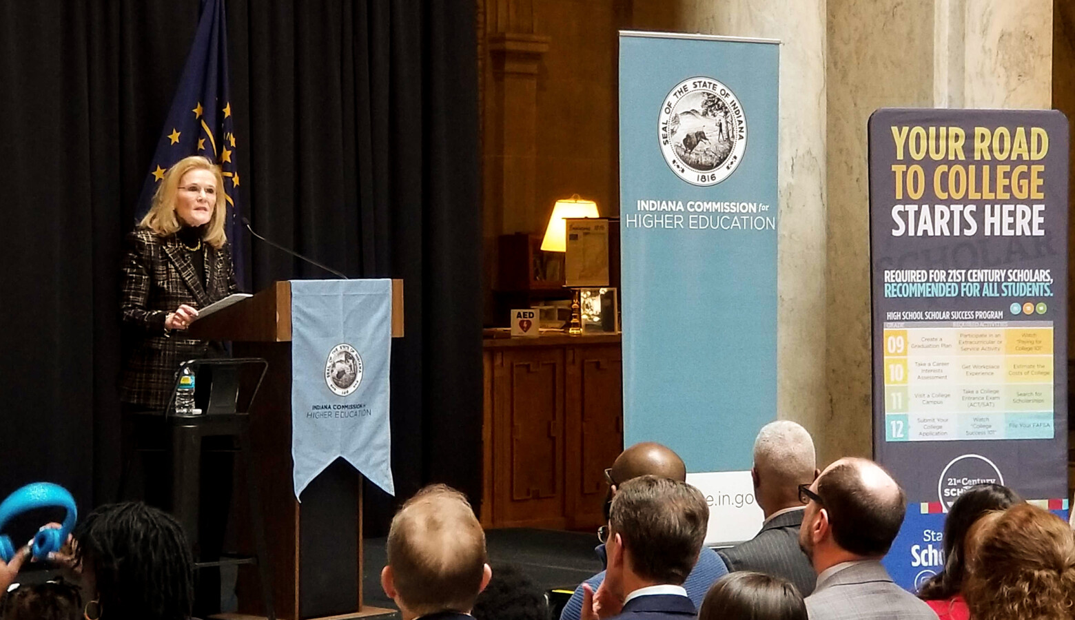 Commissioner for Higher Education, Teresa Lubbers, unveiled her latest strategic plan Tuesday during the annual State of Higher Education address. (Jeanie Lindsay/IPB News)