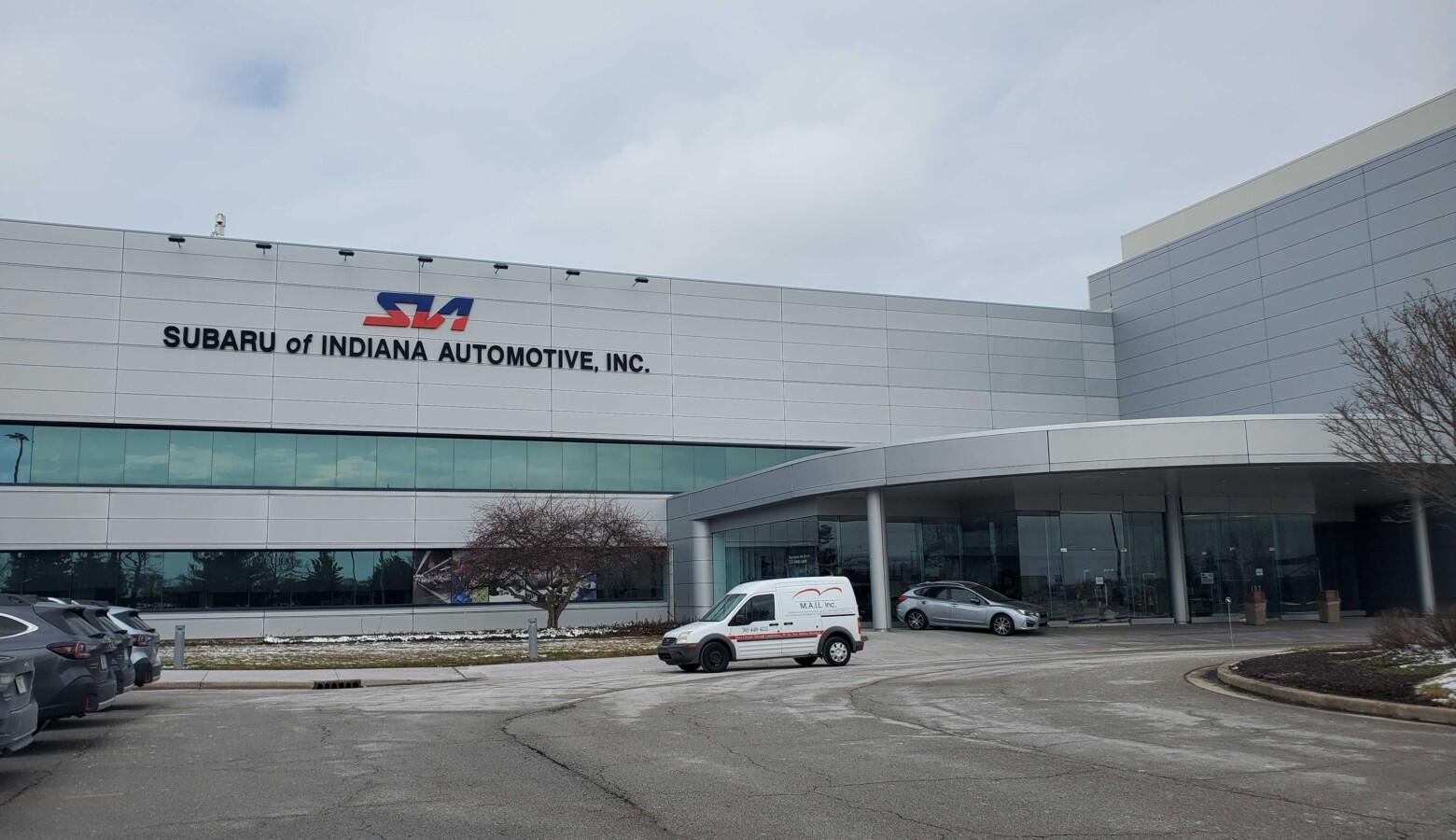 Subaru of Indiana Automotive facility in Lafayette's main entrance. (Samantha Horton/IPB News)