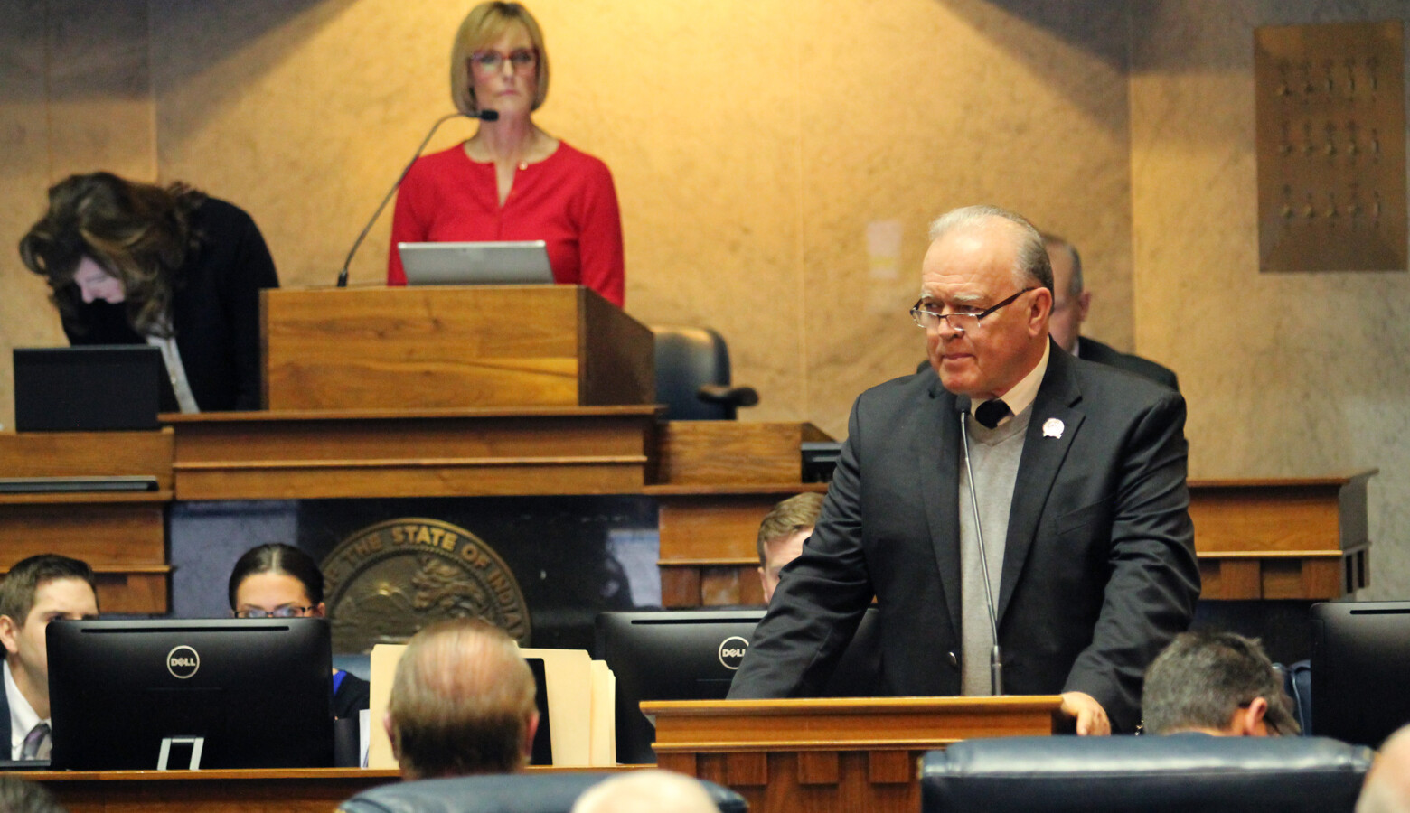 Senate Committee Chair Jim Buck (R-Kokomo) wouldn't take a vote on a bill to eliminate township assessors. (Lauren Chapman/IPB News)