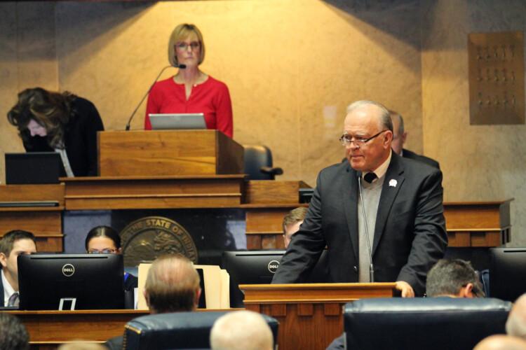 Senate Committee Chair Jim Buck (R-Kokomo) wouldn't take a vote on a bill to eliminate township assessors. (Lauren Chapman/IPB News)