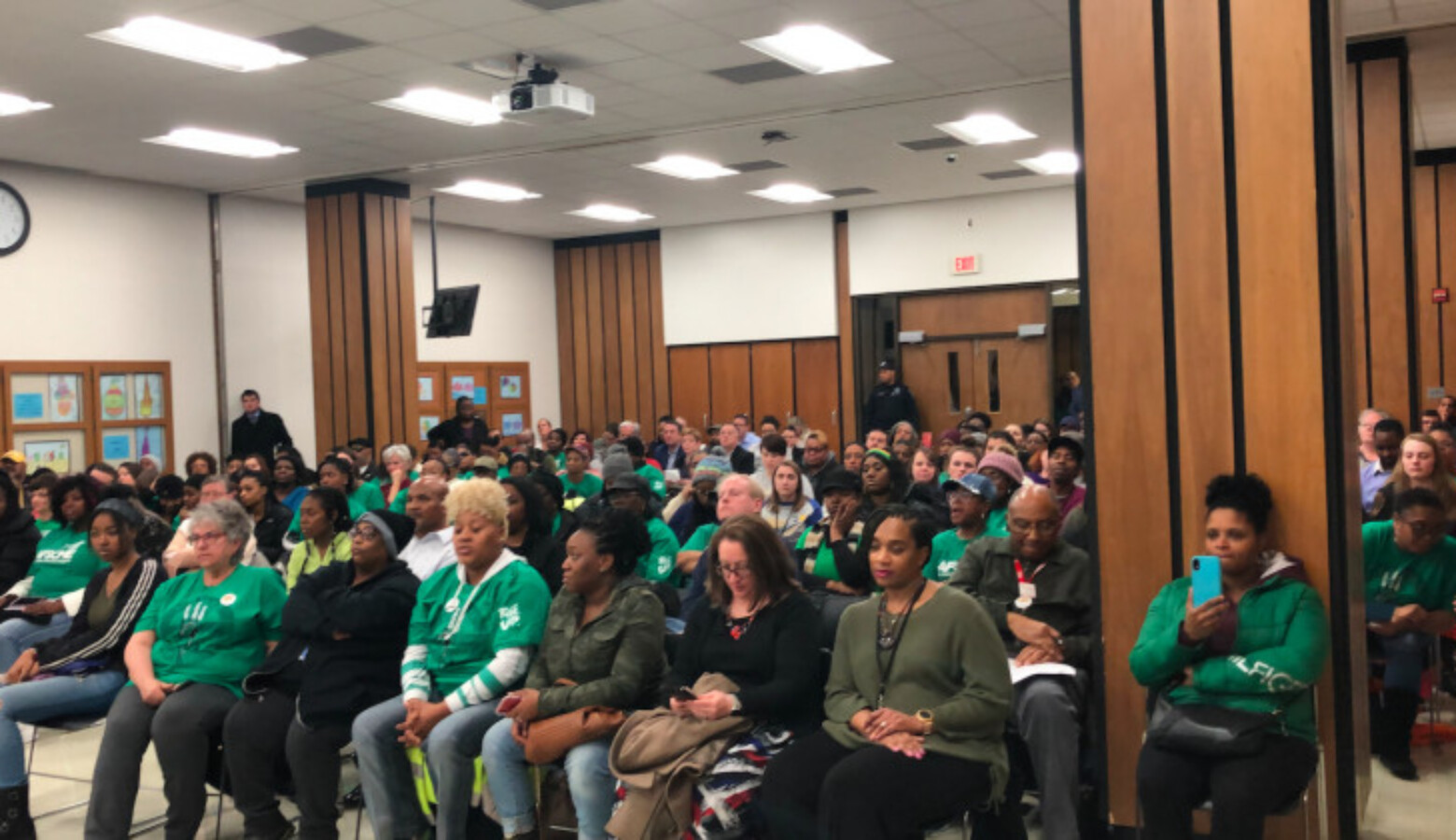 A packed room for a meeting of the Indianapolis Public Schools Board of Commissioners in January 2020.