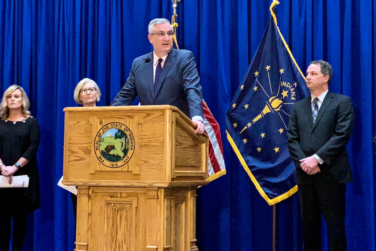 Gov. Eric Holcomb announced a new series of measures aimed at helping those affected by the COVID-19 pandemic. (Brandon Smith/IPB News)