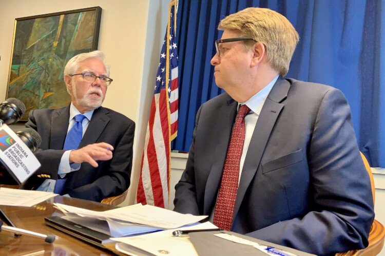 Sen. Tim Lanane (D-Anderson) and Rep. Phil GiaQuinta (D-Fort Wayne) discuss the 2020 legislative session. (Brandon Smith/IPB News)