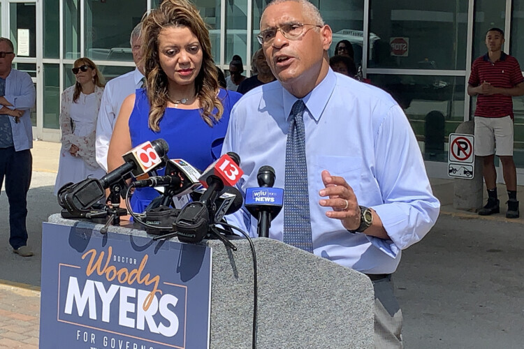 Dr. Woody Myers announces his run for governor in July 2019. (FILE PHOTO: Brandon Smith/IPB News)