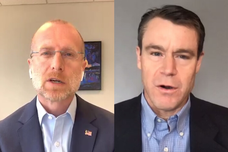 FCC Commissioner Brendan Carr, left, and U.S. Sen. Todd Young (R-Ind.) hold a video press conference to discuss expanded telehealth funding in the federal CARES Act. (Screenshot of Zoom call)