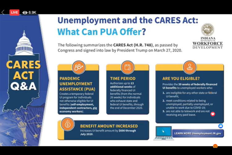 The Indiana Department of Workforce Development provided updates Wednesday about how the federal CARES Act has changed unemployment insurance benefits. (IndianaDWD/Facebook)