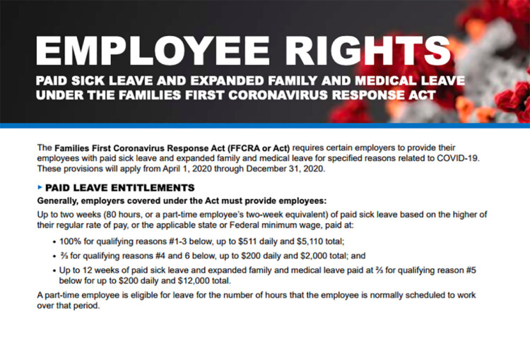 A guidance poster issued by the Department of Labor for employers to follow new paid leave rules. (Courtesy U.S. Department of Labor)