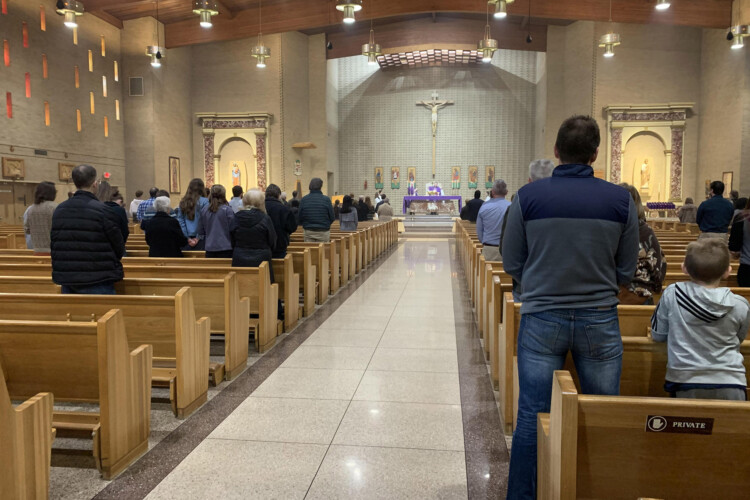 Sunday morning mass at St. Matthew Cathedral in South Bend on March 15, 2020. (Annacaroline Caruso/WVPE)