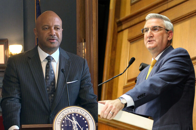 Attorney General Curtis Hill, left, and Gov. Eric Holcomb. (Lauren Chapman/IPB News)