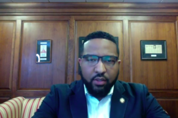Indiana Sen. Eddie Melton (D-Gary) speaks on a web conference about worker safety. (Justin Hicks / IPB News)