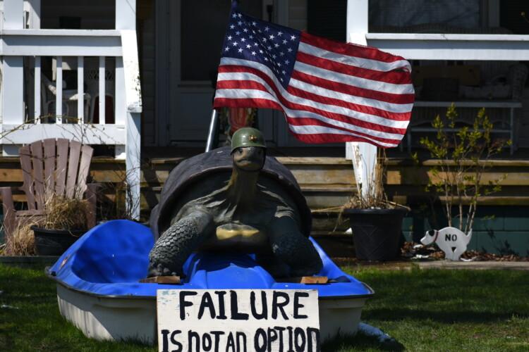 A home near Ligonier, Indiana, has an encouraging yard decoration. (Justin Hicks/IPB News)