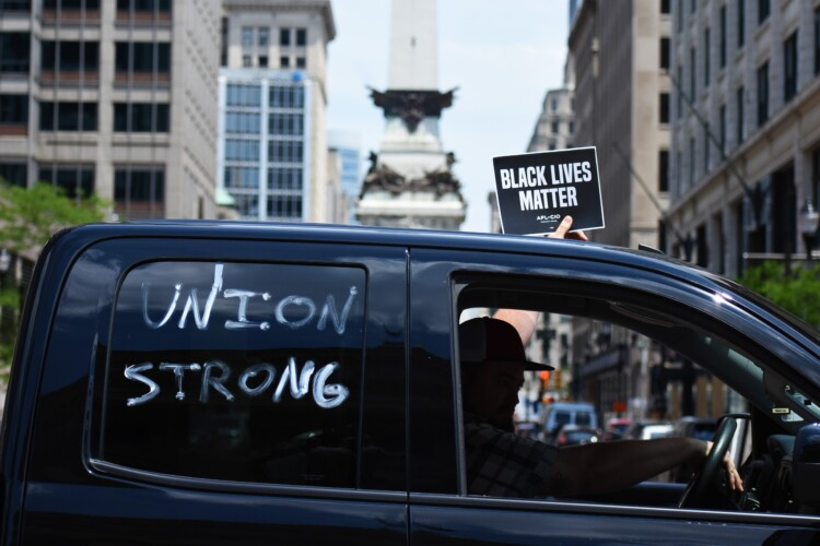 Union workers at a car rally outside the Indiana Statehouse. (Justin Hicks / IPB News)