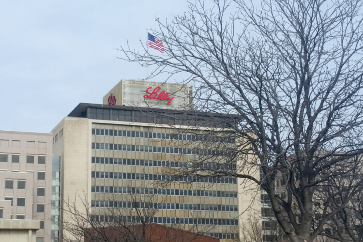 Eli Lilly's Corporate Headquarters in Indianapolis. The company announced Monday it had started the world's first COVID-19 antibody treatment in humans study. (Lauren Chapman/IPB News)