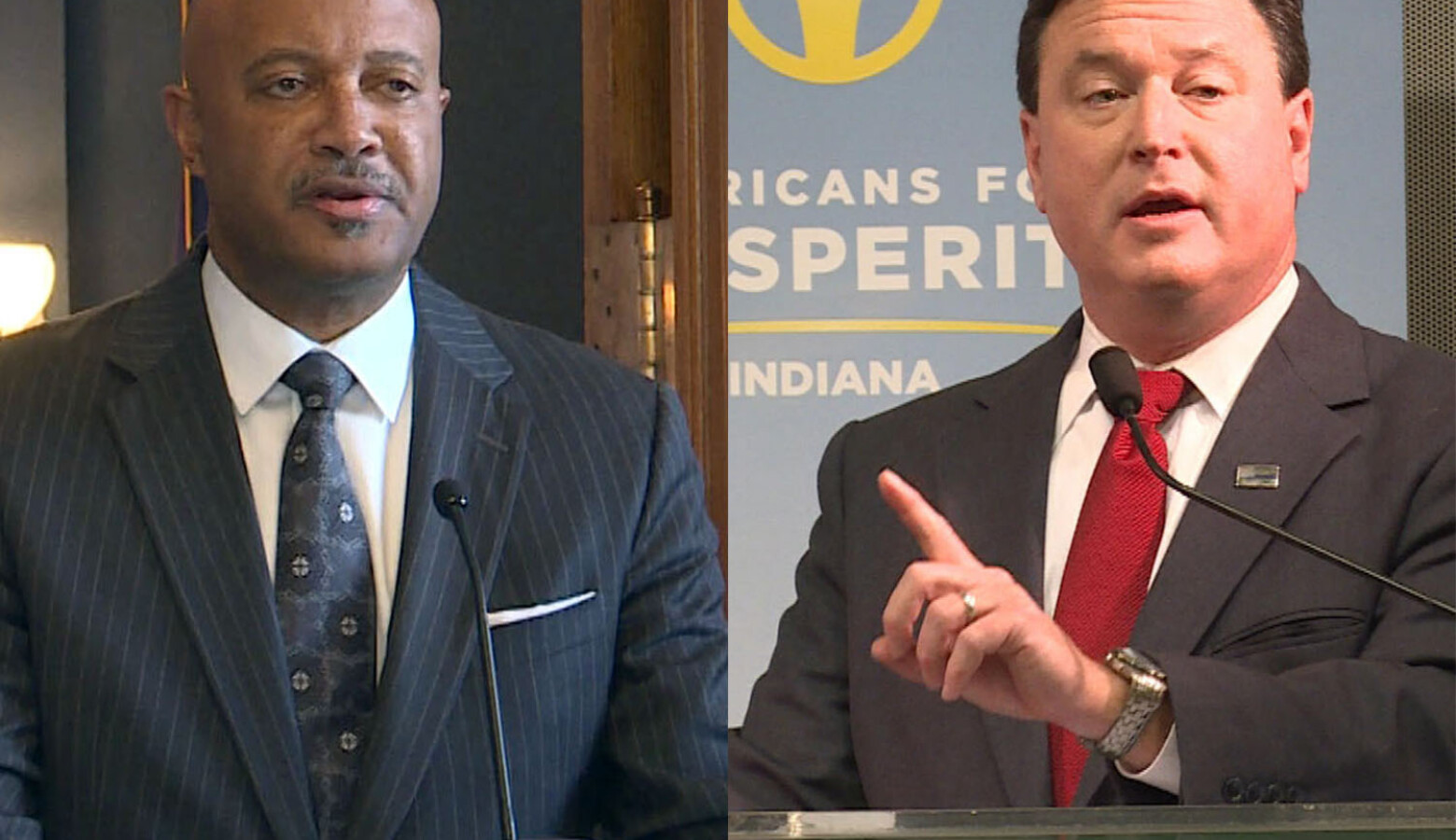 Attorney General Curtis Hill and former U.S. Rep. Todd Rokita didn't shy away from talking about the sexual misconduct charges that have put Hill's candidacy at risk during their speeches to Indiana Republican Party convention delegates. (Lauren Chapman/I