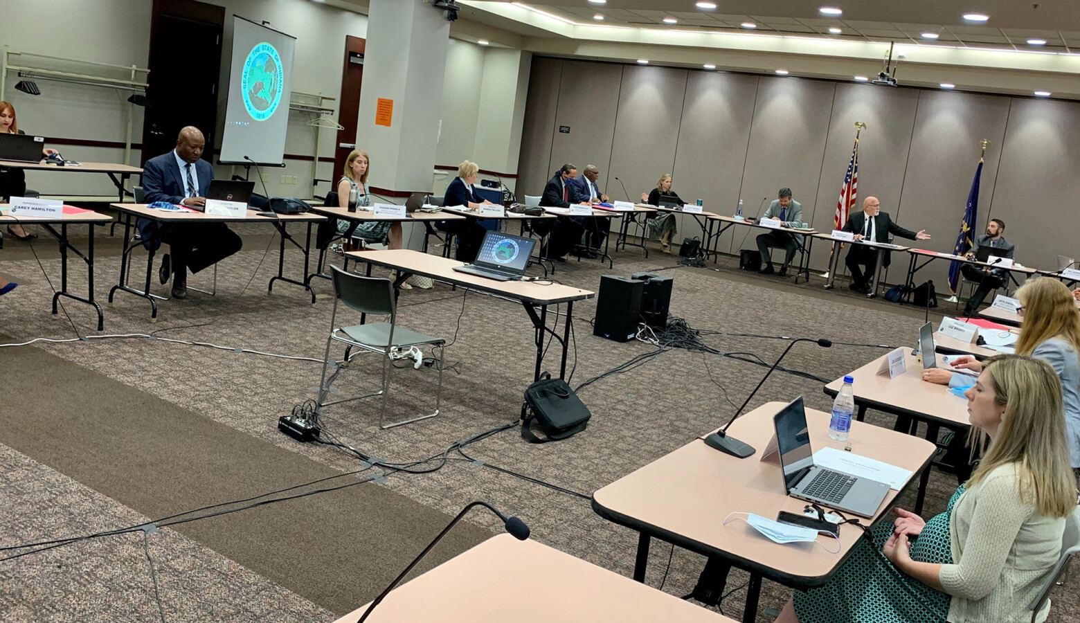 The Indiana State Budget Committee meets in person while observing proper social distancing guidelines. (Brandon Smith/IPB News)
