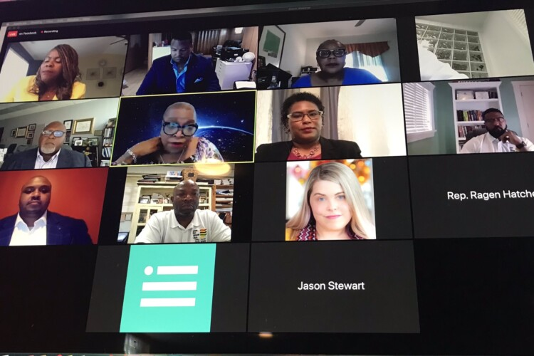 Members of the Indiana Black Legislative Caucus, along with organizers, prepare for a virtual town hall. (@Earl_Harris_Jr/Twitter)