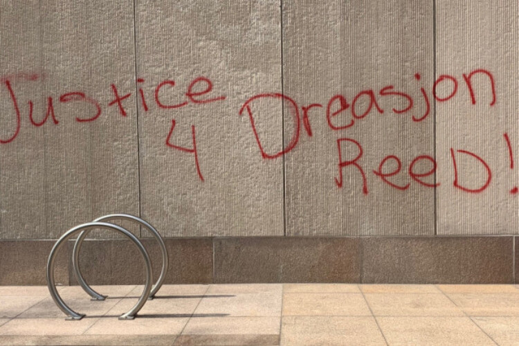 A spray painted wall in downtown Indianapolis.