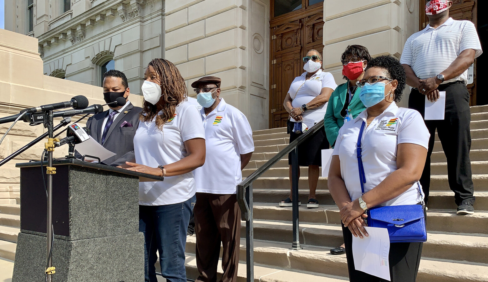 The Indiana Black Legislative Caucus wants Governor Eric Holcomb to ban the use of chokeholds by police during arrests, one of a series of actions the caucus recommended to address justice reform. (Brandon Smith/IPB News)