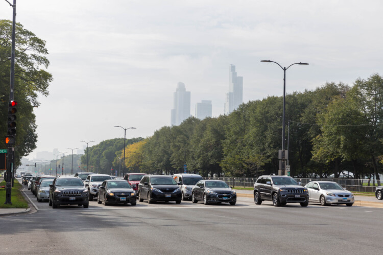 Chicago traffic at an intersection in 2019. The only four counties in Indiana that don't meet federal ozone standards are near major cities like Chicago. (Marco Verch/Flickr)