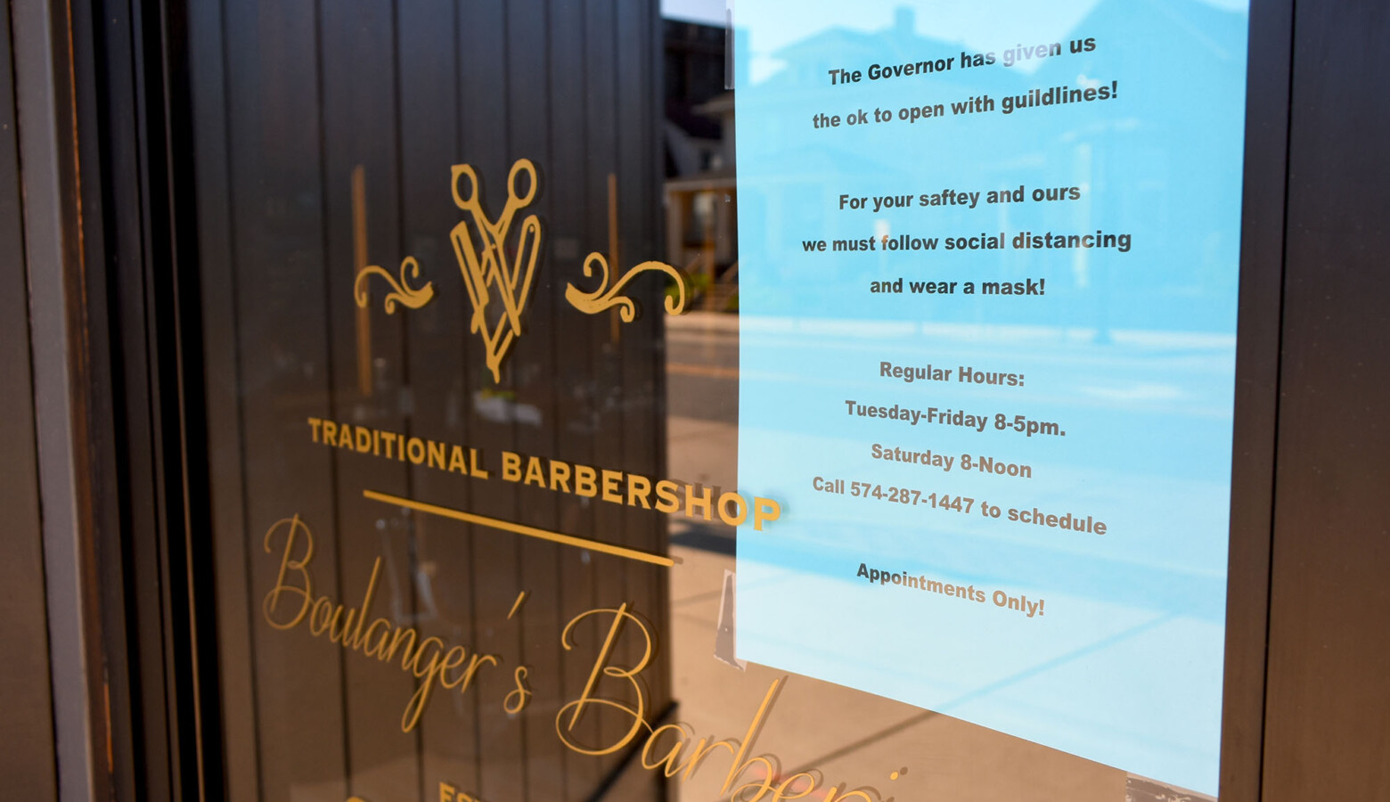 "Boulanger's Barberie in South Bend reopened – with social distancing guidance – under Gov. Eric Holcomb's ""Back On Track"" plan. (Justin Hicks/IPB News)"