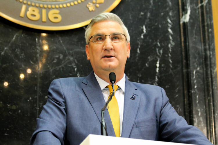 Gov. Eric Holcomb says he's confident he has the legal authority for his order requiring Hoosiers to wear masks in public. (Lauren Chapman/IPB News)