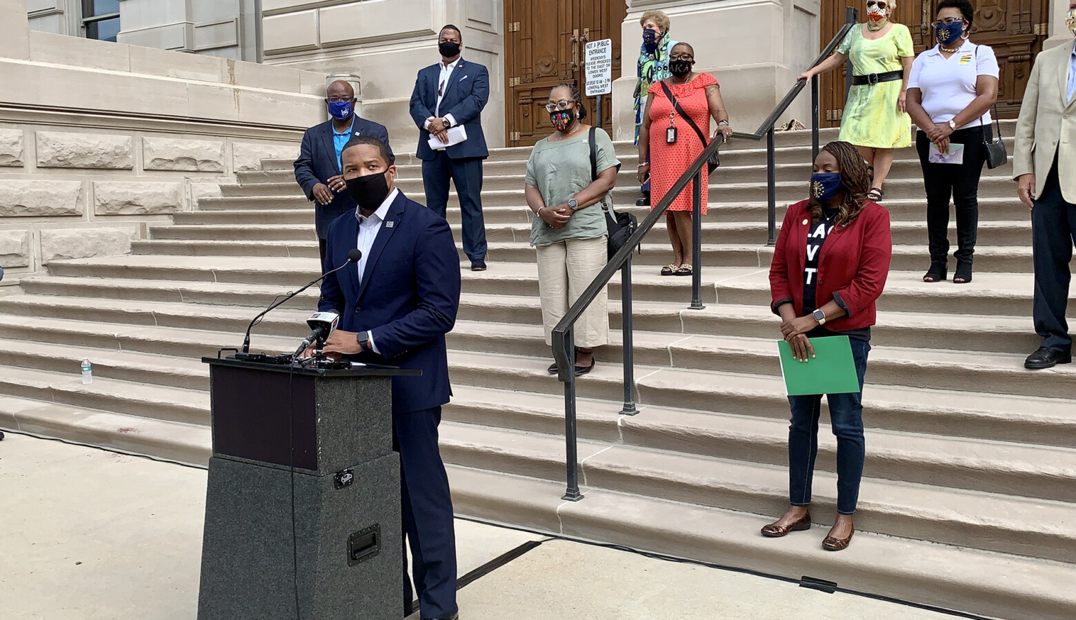 Sen. Eddie Melton (D-Gary) addresses police reform priorities as part of House and Senate Democrats' call for a special session of the General Assembly. (Brandon Smith/IPB News)