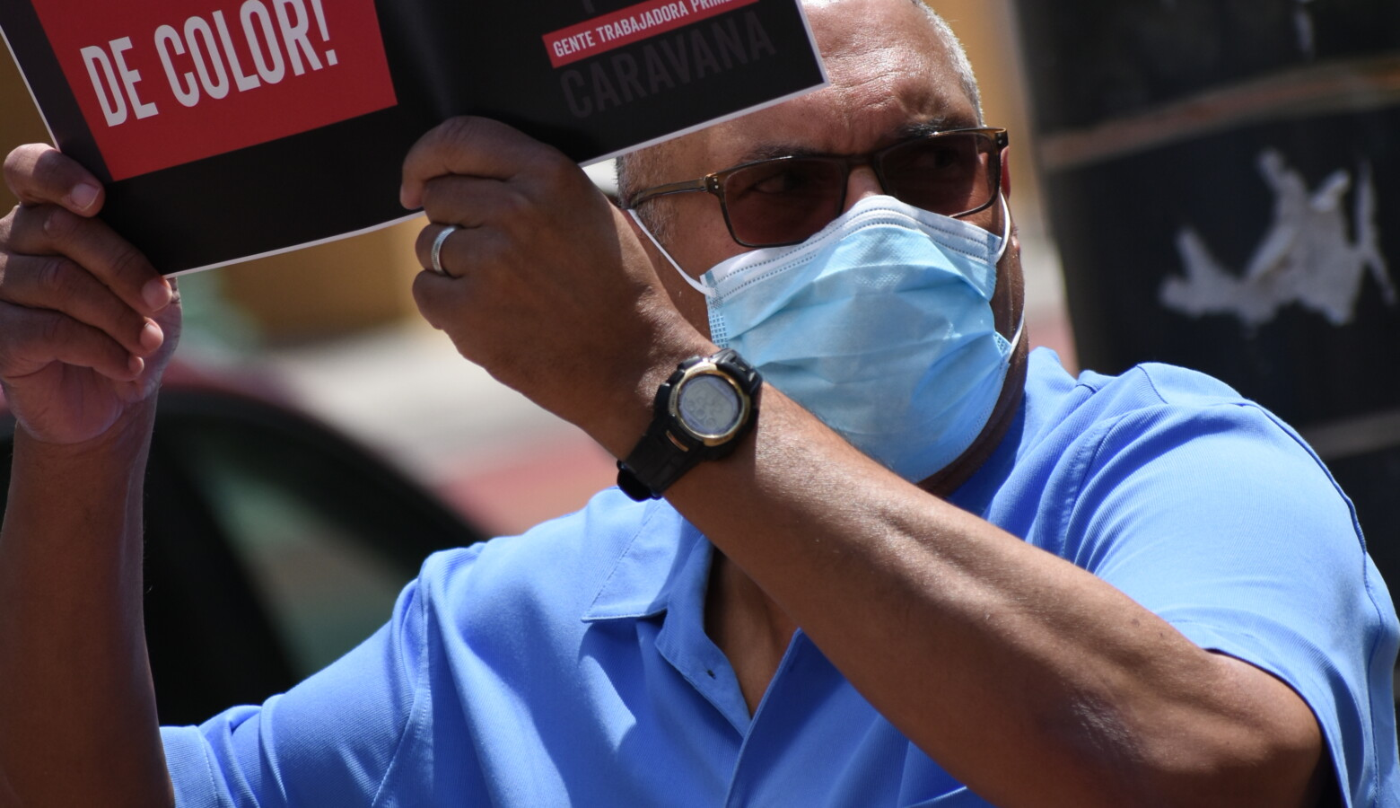Democratic gubernatorial candidate Dr. Woody Myers wears a face mask during a union-organized rally in support of the Black Lives Matter movement. (Justin Hicks/IPB News)