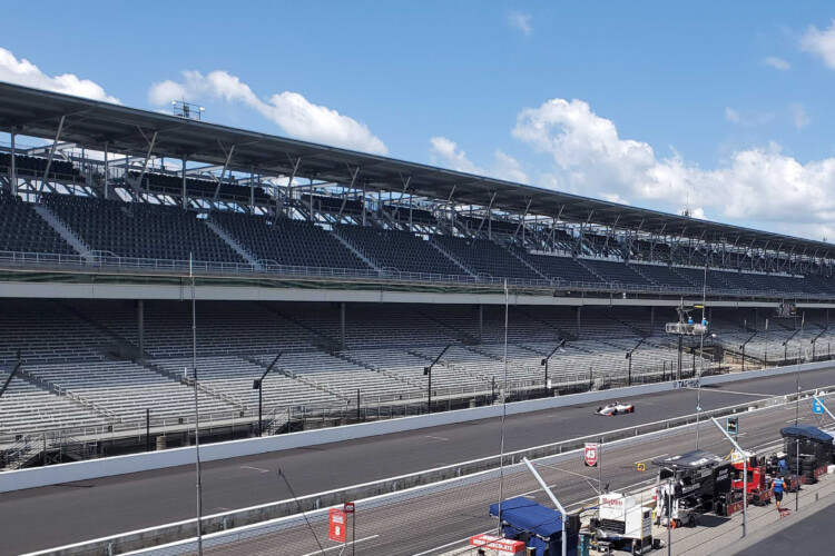 Marco Andretti races around the track during the Fast Nine Shootout Sunday winning the front position in this year's Indianapolis 500 race. (Samantha Horton/IPB News)