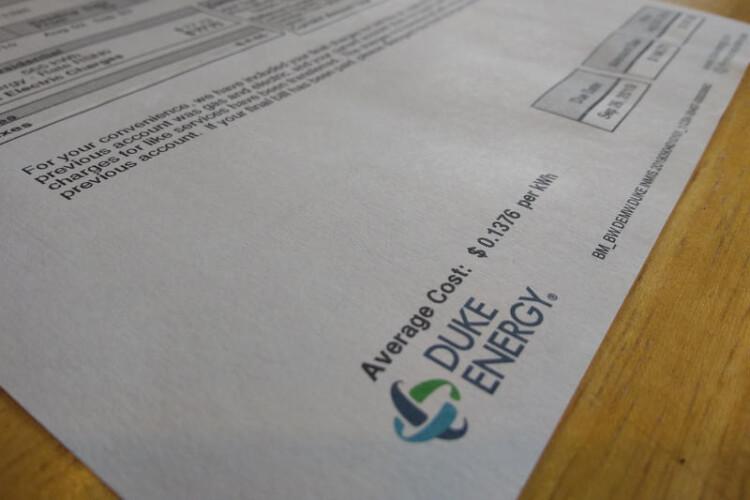 An electricity bill from Duke Energy. (Rebecca Thiele/IPB News)